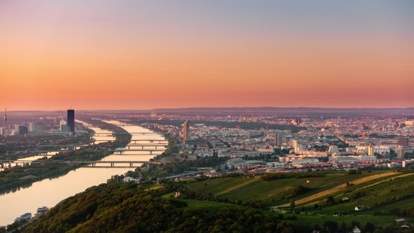 vienna skyline cityscape timelapse from night to day at sunrise
