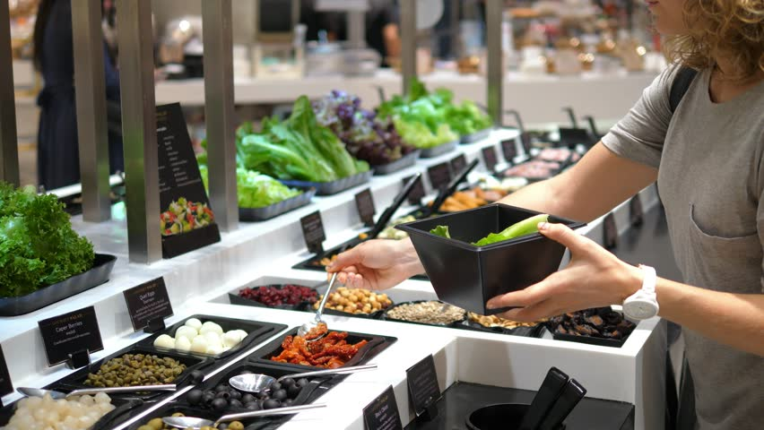 Healthy Vegetarian Woman Taking Salad At Salad Bar In Supermarket. 4K.  #30436156