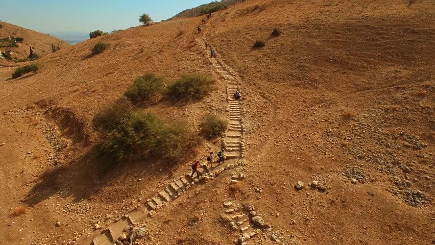 Israel Aerial drone of Mount Arbel in The Lower Galilee near Tiberias Golan hiking mountains | Shutterstock HD Video #30447316