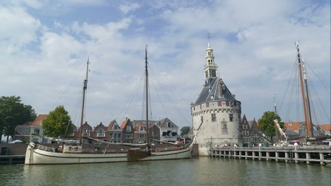 Head tower at the port of Hoorn, time lapse