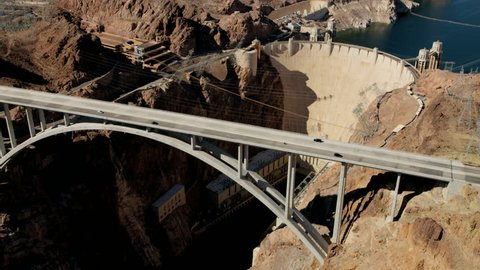 Aerial view Hoover dam in Nevada Arizona USA producing environmental clean hydroelectricity power from Lake Mead reservoir RED WEAPON