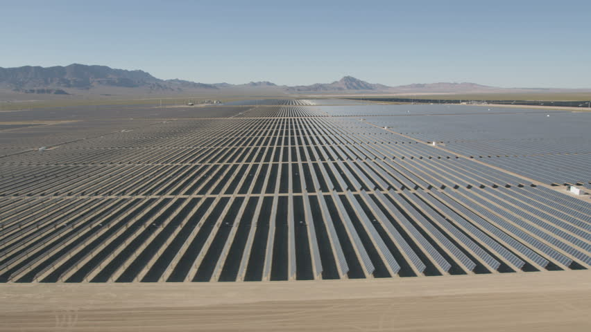 Aerial desert view Photovoltaic solar panels harvesting clean energy from the sun natural alternative power Las Vegas Nevada USA RED WEAPON | Shutterstock HD Video #30458206