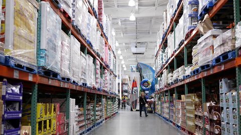 Port Coquitlam, BC, Canada - May 16, 2017 : Motion of food product corridor in Costco store with 4k resolution