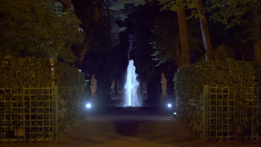 4k, night view fountain in Summer garden, Saint-Petersburg, Russia