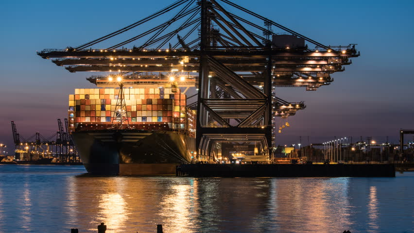 Unloading Cargo Container Ship at Port Timelapse