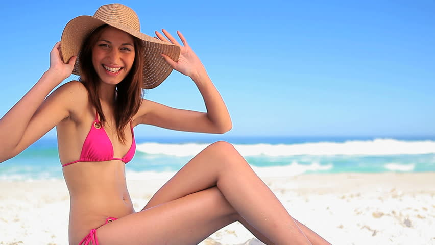 Happy Brunette Woman Sitting On Stock Footage Video 100