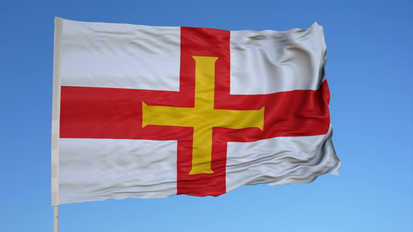 Looping flag for Guernsey on flag pole, blowing beautifully in the wind. Includes alpha matte.