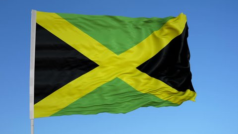 Looping flag for Jamaica on flag pole, blowing beautifully in the wind. Includes alpha matte.