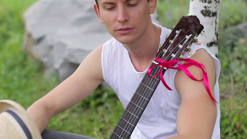 Scarlet red horny blonde plays guitar players instrument