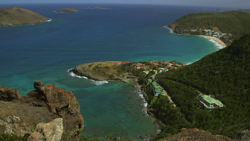 St Bart's island, Caribbean. Beautiful vista of luxury holiday island, July 2017