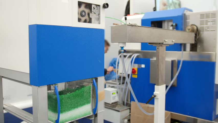 Chemidtry industry - plastic granules on extruder for making plastics on extrusion manufactory