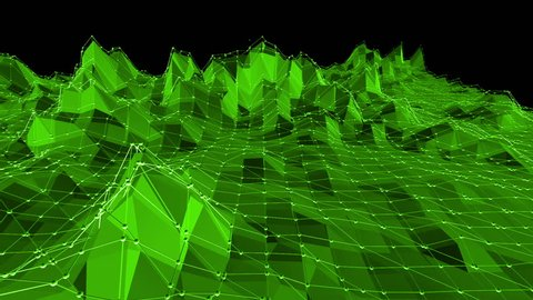 Green low poly background waving. Abstract low poly surface as dream background in stylish low poly design. Polygonal mosaic background with vertex, spikes. Cartoon modern 3D design Free space