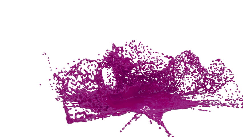 Large Drops Of Purple Paint Fall On The White Surface And It Is Stain Leaving Blotaking Splashes Blots Shot In Slow Motion