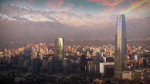 Buildings in Sanhattan Metropolis, Santiago del Chile, Chile.