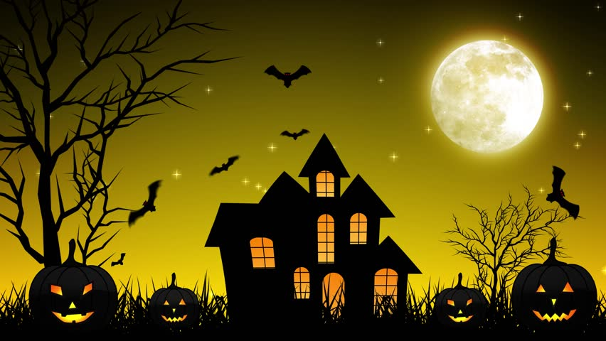 halloween background animation with the concept of spooky pumpkins moon and bats and haunted castle - Halloween Background Video