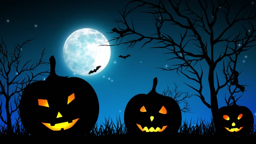 Halloween background animation with the concept of Spooky Pumpkins, Moon and Bats. | Shutterstock HD Video #30577786