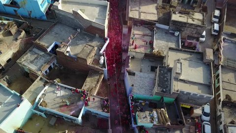Holi color festival in India, aerial 4k drone footage