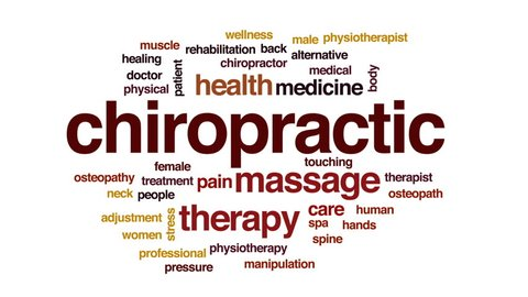 Chiropractic animated word cloud, text design animation.