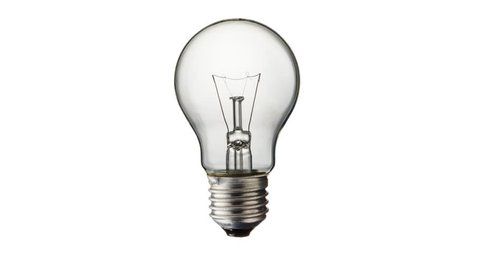 Glowing yellow light bulb, realistic stop motion of a turned on tungsten light bulb isolated on white background