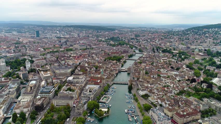 3 in 1. Flying over Zurich, Switzerland. Pack 2.