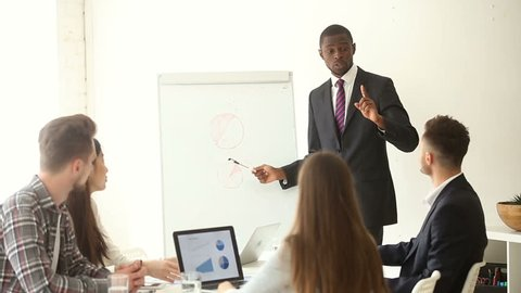 African businessman gives presentation to multi-ethnic group, works with flip chart, explains project charts on whiteboard, black business coach training employees, speaks about new marketing trends