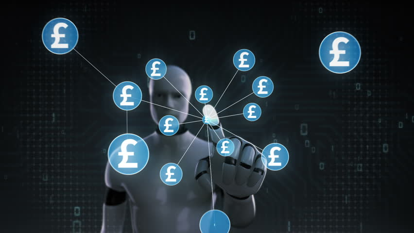 Robot, cyborg touching Pound symbol, Numerous dots gather to create a Yen currency sign, dots makes global world map, internet of things. financial technology 1. | Shutterstock HD Video #30618316