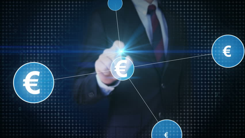 Businessman touching Euro currency symbol, Numerous dots gather to create a Euro  currency sign, dots makes global world map, internet of things. financial technology 1. | Shutterstock HD Video #30618346