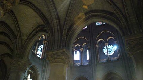PARIS, FRANCE - JULY 22,2017: Interior of Notre Dame de Paris France