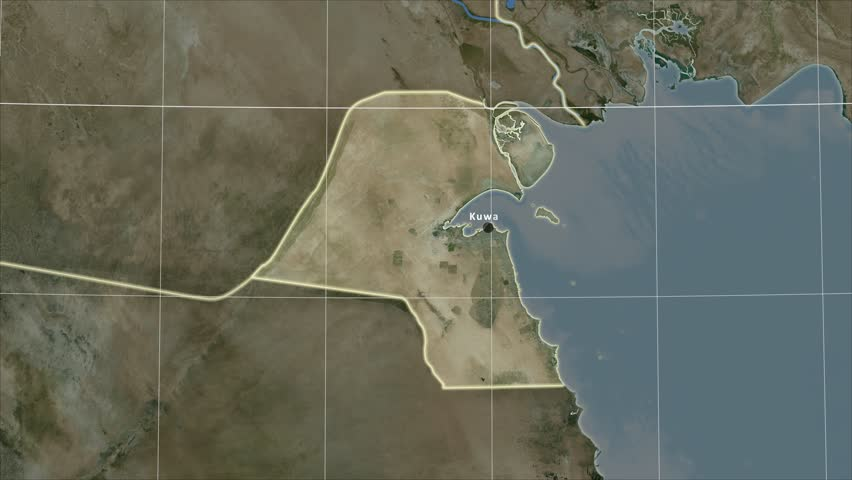 The Kuwait area map in the Azimuthal Equidistant projection. Layers of main cities, capital, administrative borders and graticule. Satellite imagery | Shutterstock HD Video #30638593