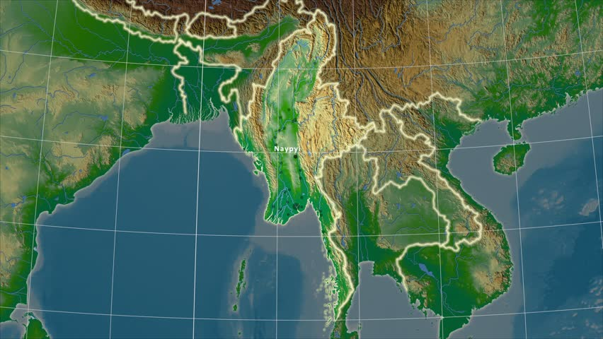 The Thailand Area Map In The Azimuthal Equidistant Projection