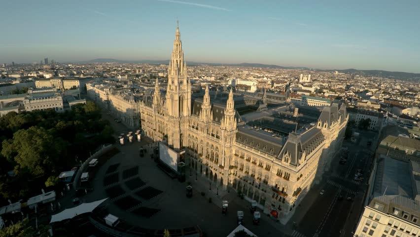 Aerial view. Vein. Vienna. Wien. Vienna City Hall. Rathaus. Austria. Shot in 4K (ultra-high definition (UHD)). | Shutterstock HD Video #30644896