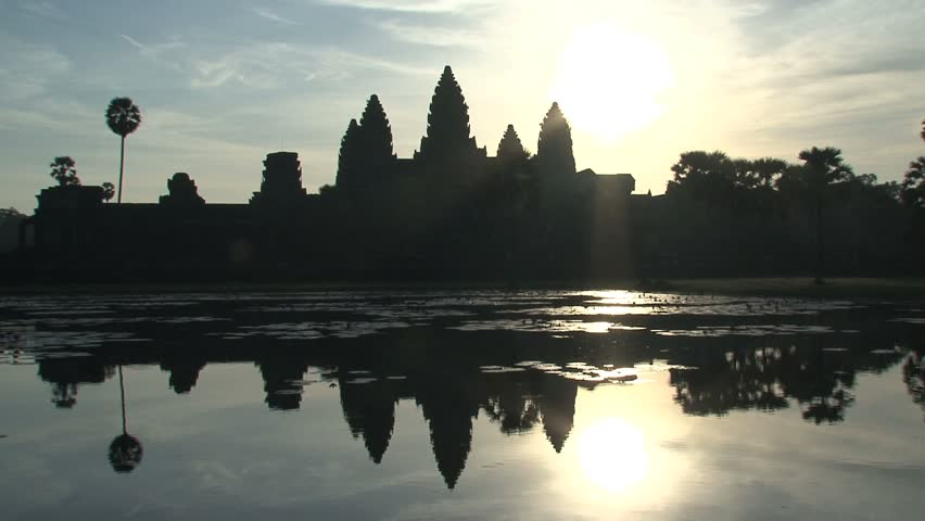 Ankor wat reflextion in the morning, Siem Reap, Cambodia