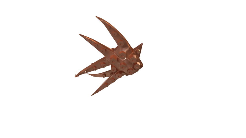3d Animation of a Dancing Abstract Copper Fish. Video has seamless loop for endless repetition and luma matte for isolation.