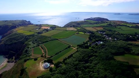 Aerial flight through Sark Island in the Channel Islands in the southwestern English Channel, off the coast of Normandy, France.