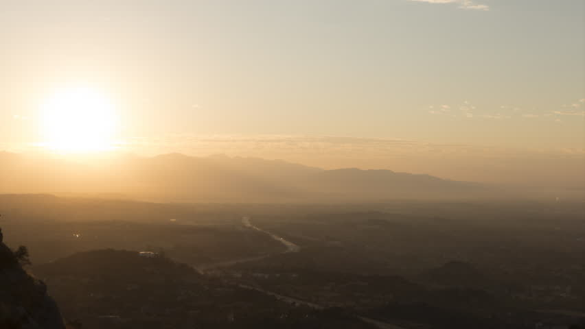 Porter Ranch sunrise time lapse with zoom in the San Fernando Valley area of Los Angeles, California.