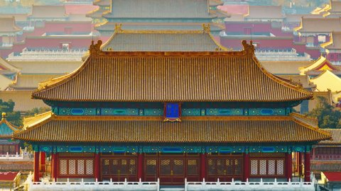 Zoom out: Forbidden City at Sunrise,China Beijing. The Forbidden City has over 14 million annual visitors.