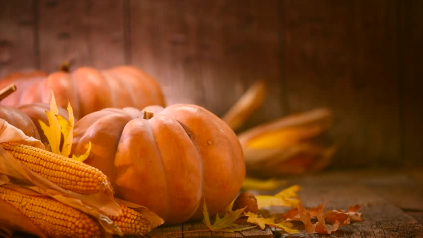 Thanksgiving Day. Pumpkin, Squash. Happy Thanksgiving Day wooden Table Background decorated with pumpkins, corn comb, candles and autumn leaves garland. Holiday Autumn festival scene, Fall, Harvest 4K | Shutterstock HD Video #30686476