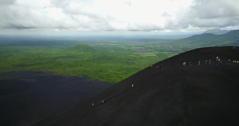 Volcano sliding tour in Nicaragua aerial drone view