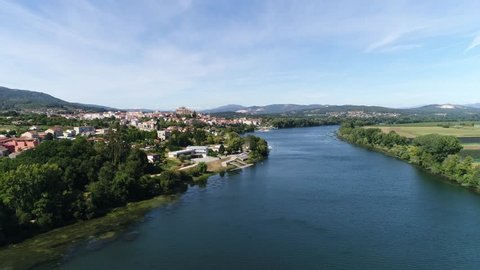 Aerial View of the Beautiful River Minho and the Historical City of Tui in Galicia, Spain