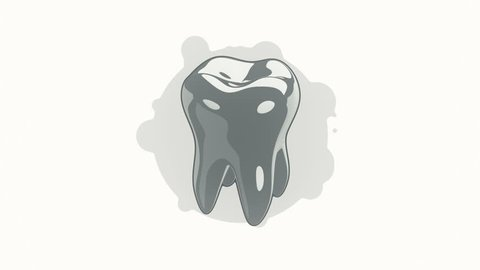 Animation rotation tooth in flat icon style on colorful background with circle with flying particles. Line art style. Animation of seamless loop.