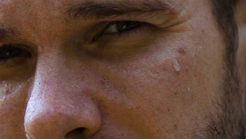Epic extreme close-up shot. Eye and nose. sweat man outdoor in park. Drop of water on his face macro slow motion high-speed fps rapid camera. | Shutterstock HD Video #30724666