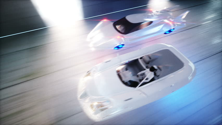 Futuristic Race Flying Cars Fast Stock Footage Video 100 Royalty