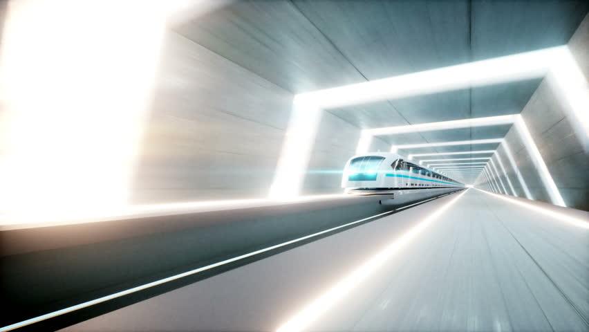 Futuristic modern train, monorail fast driving in sci fi tunnel, coridor. Concept of future. Realistic 4k animation. Loopable. | Shutterstock HD Video #30739786