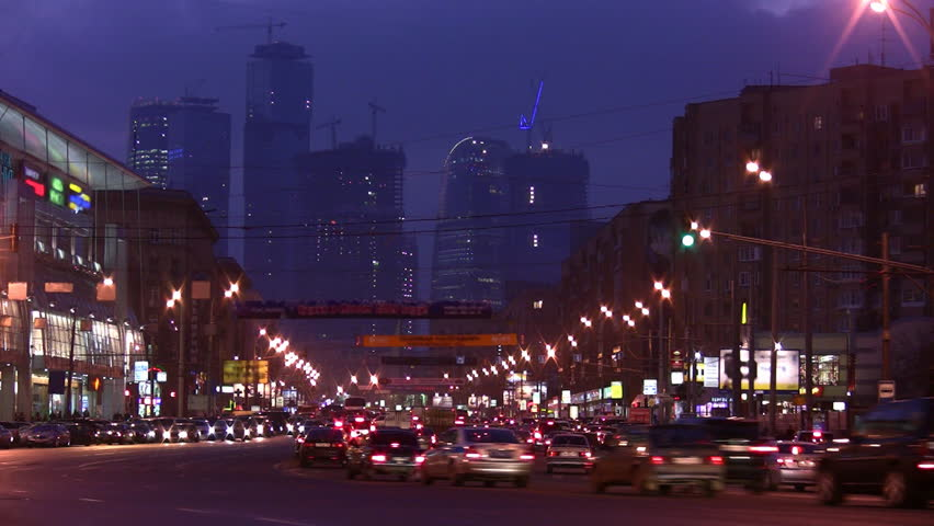 Skyscrapers in Moscow. Time lapse