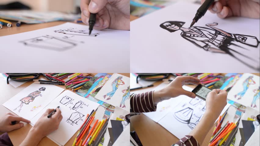 KHERSON, UKRAINE - MARCH 09, 2016: Fashion designer is working on a new collection , making sketches | Shutterstock HD Video #30748546