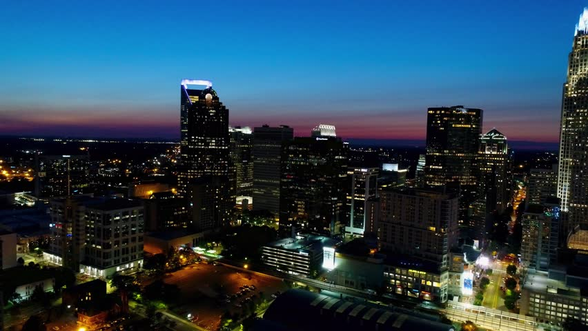 Charlotte, North Carolina, Aerial View at Dusk. East Side