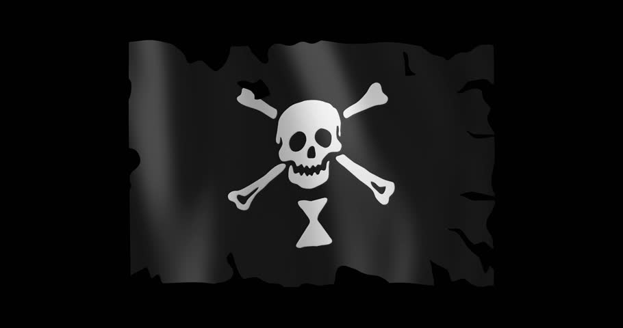 Pirate Flag of Emanuel Wynne; battle-worn, torn-up; gentle, stylized, non-realistic, unhinged waving; nice textile pattern visible in hi-res