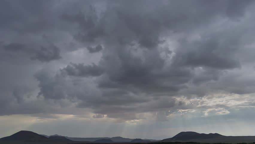 Thunderstorm Mojave Desert with Distant mountains 4K from 6K source | Shutterstock HD Video #30764290