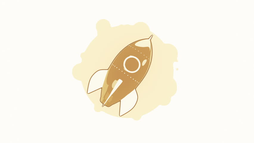 Animation rotation rocket in flat icon style on colorful background with circle with flying particles. Line art style. Animation of seamless loop. | Shutterstock HD Video #30771418