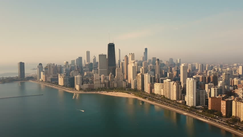 Aerial view of the Chicago, America early in the morning. Drone flying over the lake Michigan on the dawn. | Shutterstock HD Video #30789466